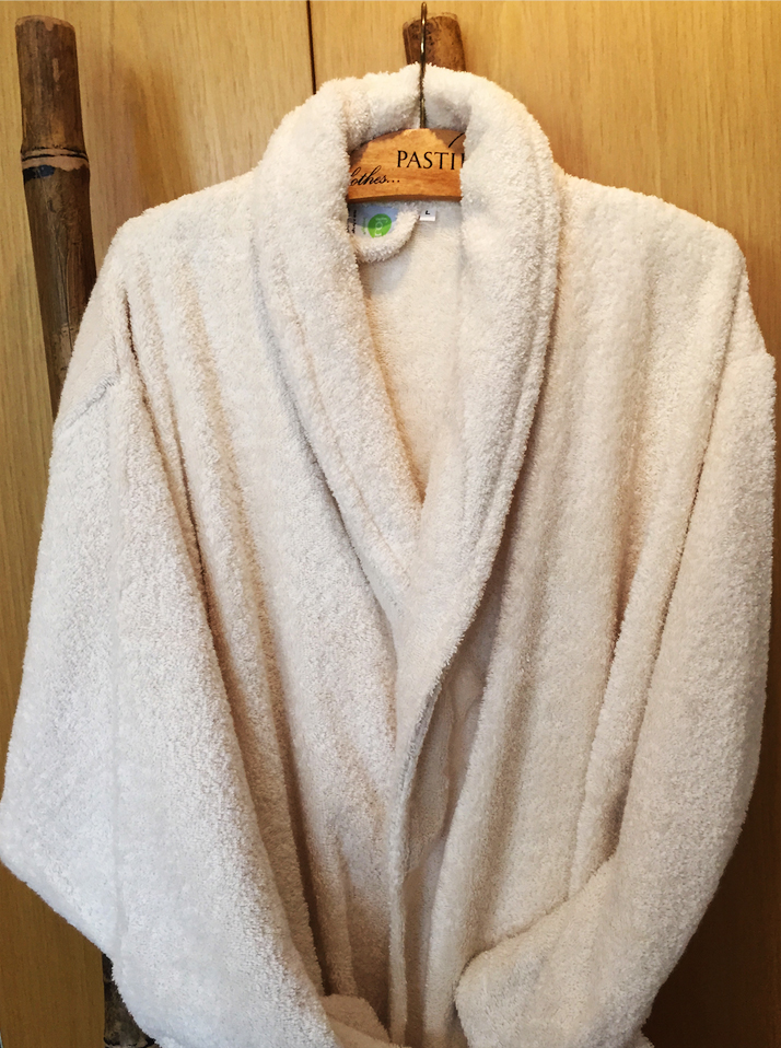 Sumptous and enveloping pure organic cotton bathrobes from fou furnishings, £59, www.foufurnishings.
