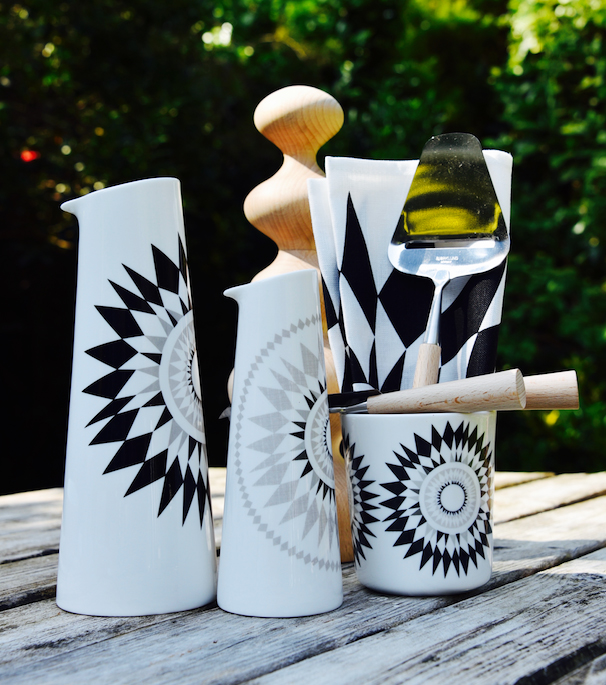 Midnattsol design for ceramic/enamel tableware by Scandinavian brand Isak