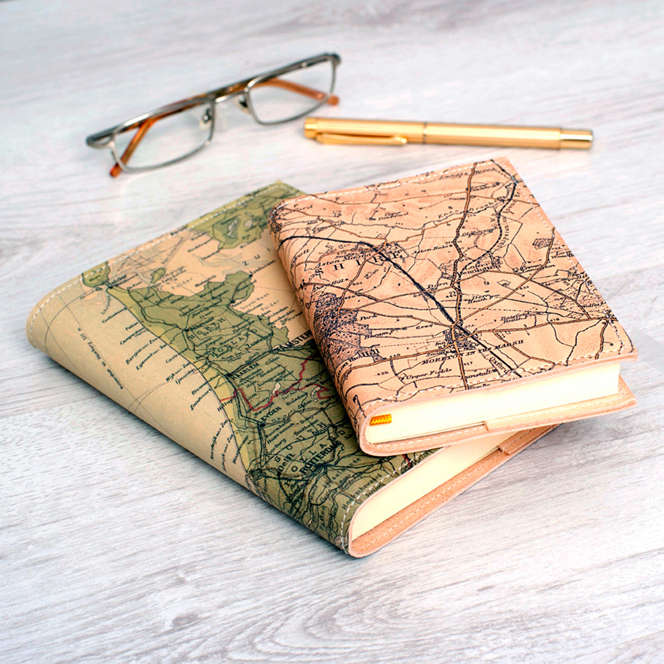 Atlas & I personalised leather map diary, hand-made in London, from £55, www.astlas-and-I.com
