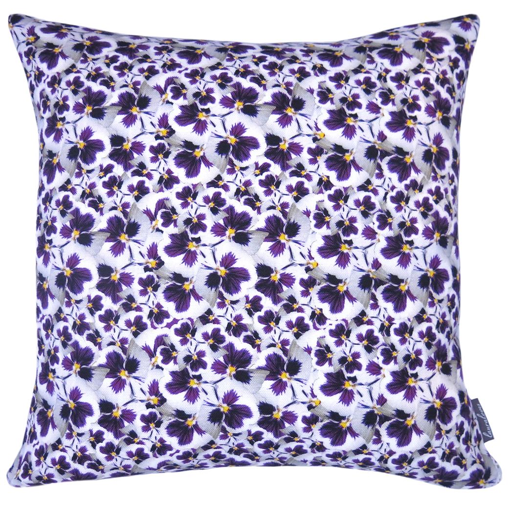 Pansy Dance linen cushion by Laura Loves Design. 42x42cm cover
