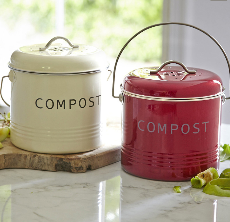 Pretty red and cream steel compost bins by Typhoon, £14.99, available at Lakeland