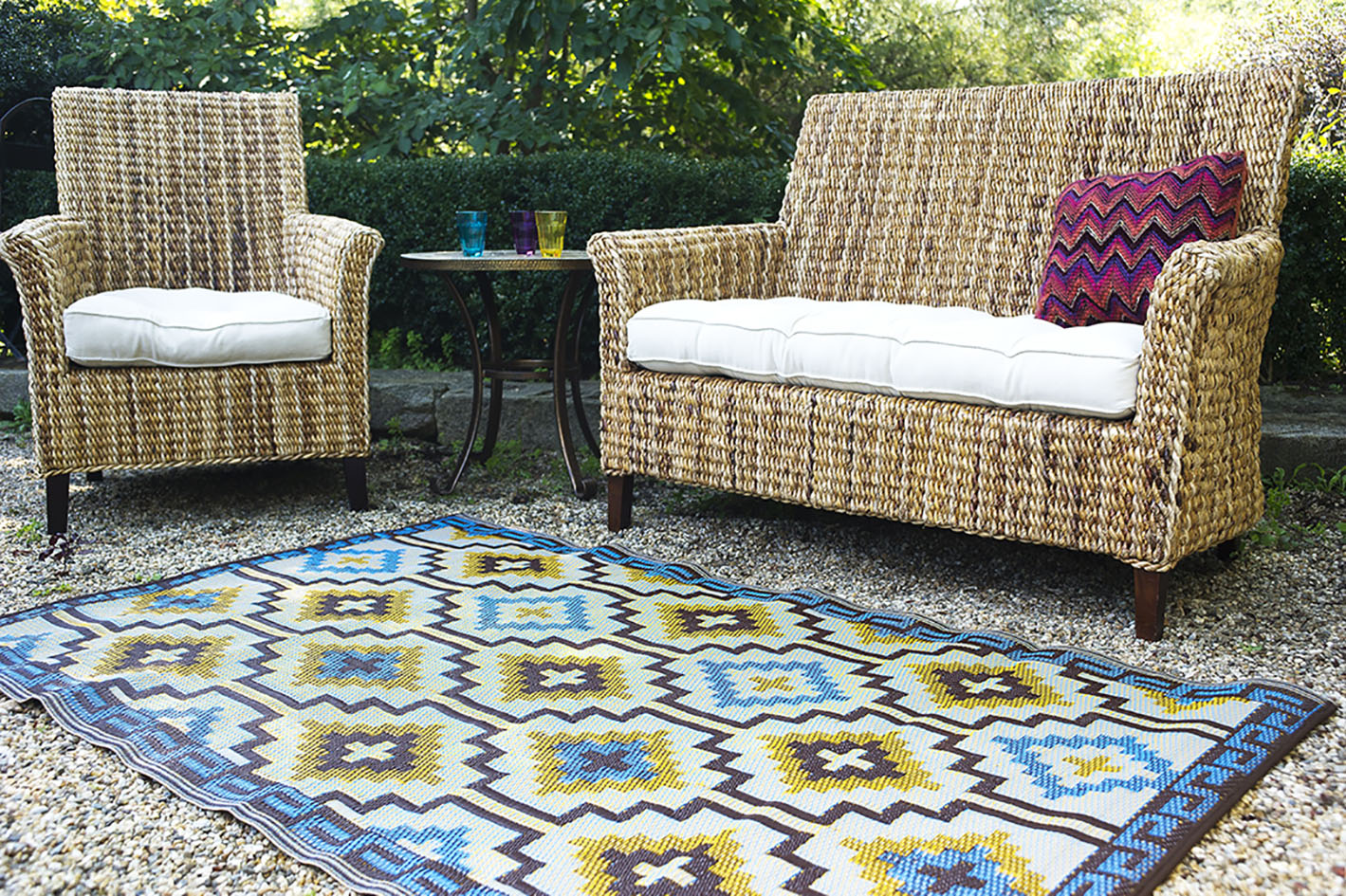 Fab Habitat's new Lhasa blue and brown recycled plastic rug - find this US brand in the UK at Wayfai