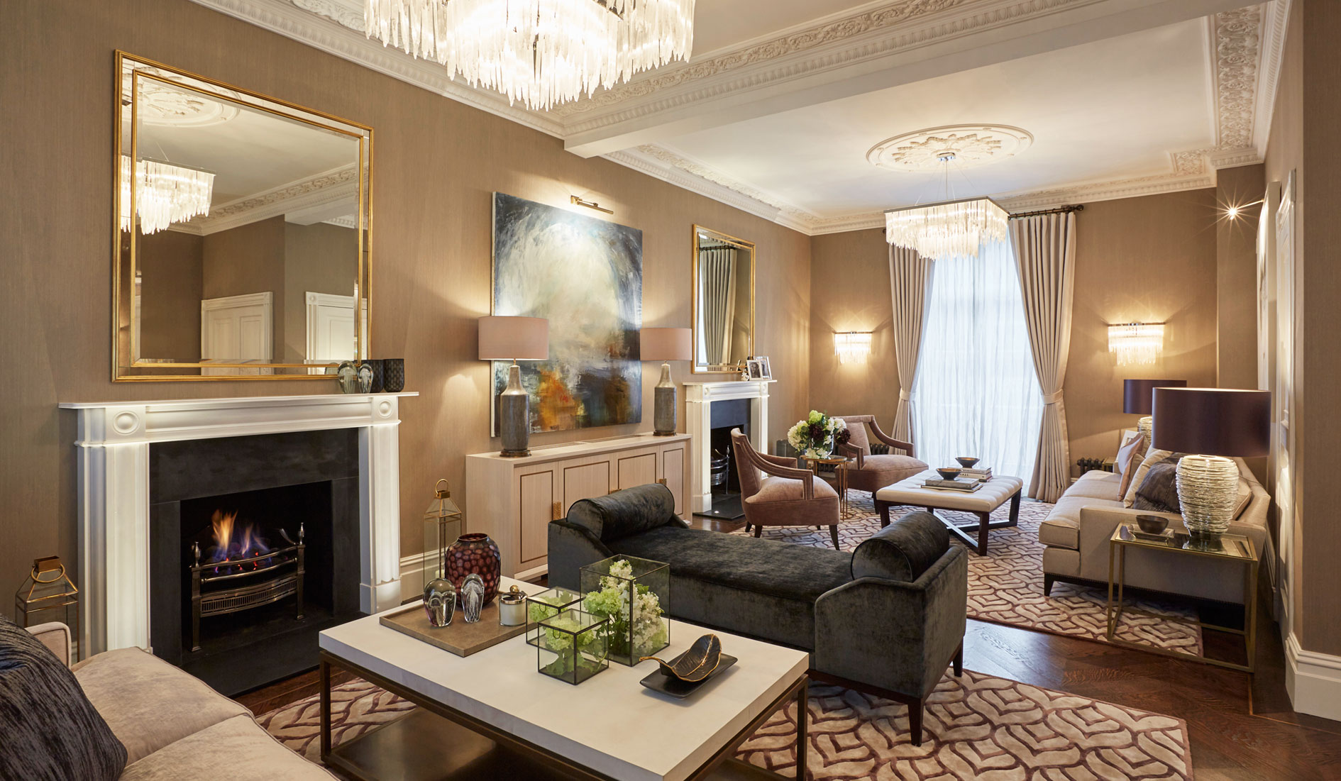 Drawing rom at Wilton Street house by Residence One. Furniture is bespoke and made in the UK