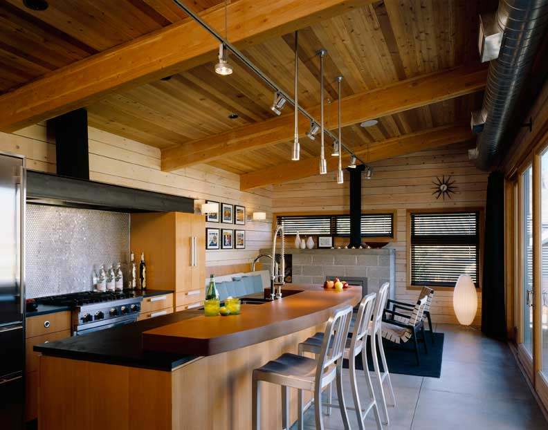 Two colous of Richlite are used in this kitchen