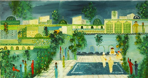 Douja Ghannam (b 1940) is known for the naive, childlike, magical quality of her imagery. Oil on can