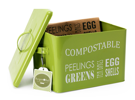 Burgon & Ball's compost tin in lime green is very nice to look at. Line with their paper bags,  £18.
