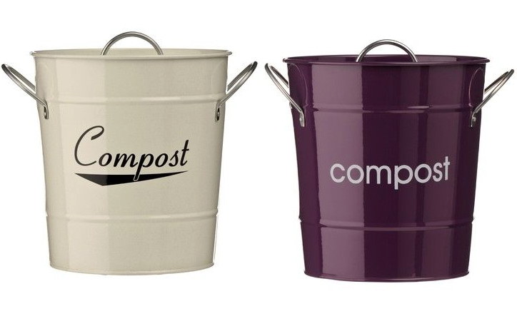 stainless steel compost pails come in lots of colours. Eddingtons make them, £10.99 at www.primrose.