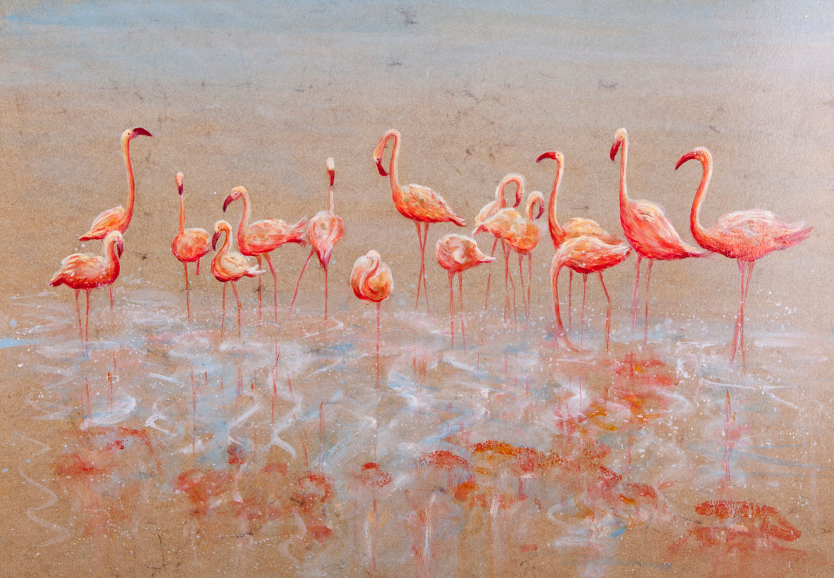 Flamingos,16x24 inches, on elephant dung paper by Sarah Elder