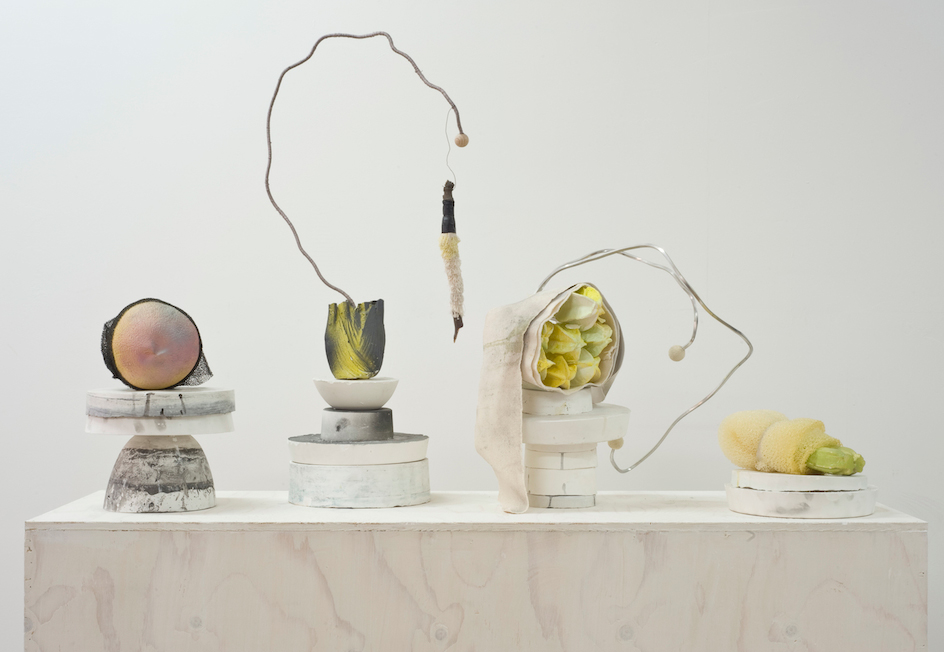 Group of sculptures made from studio waste