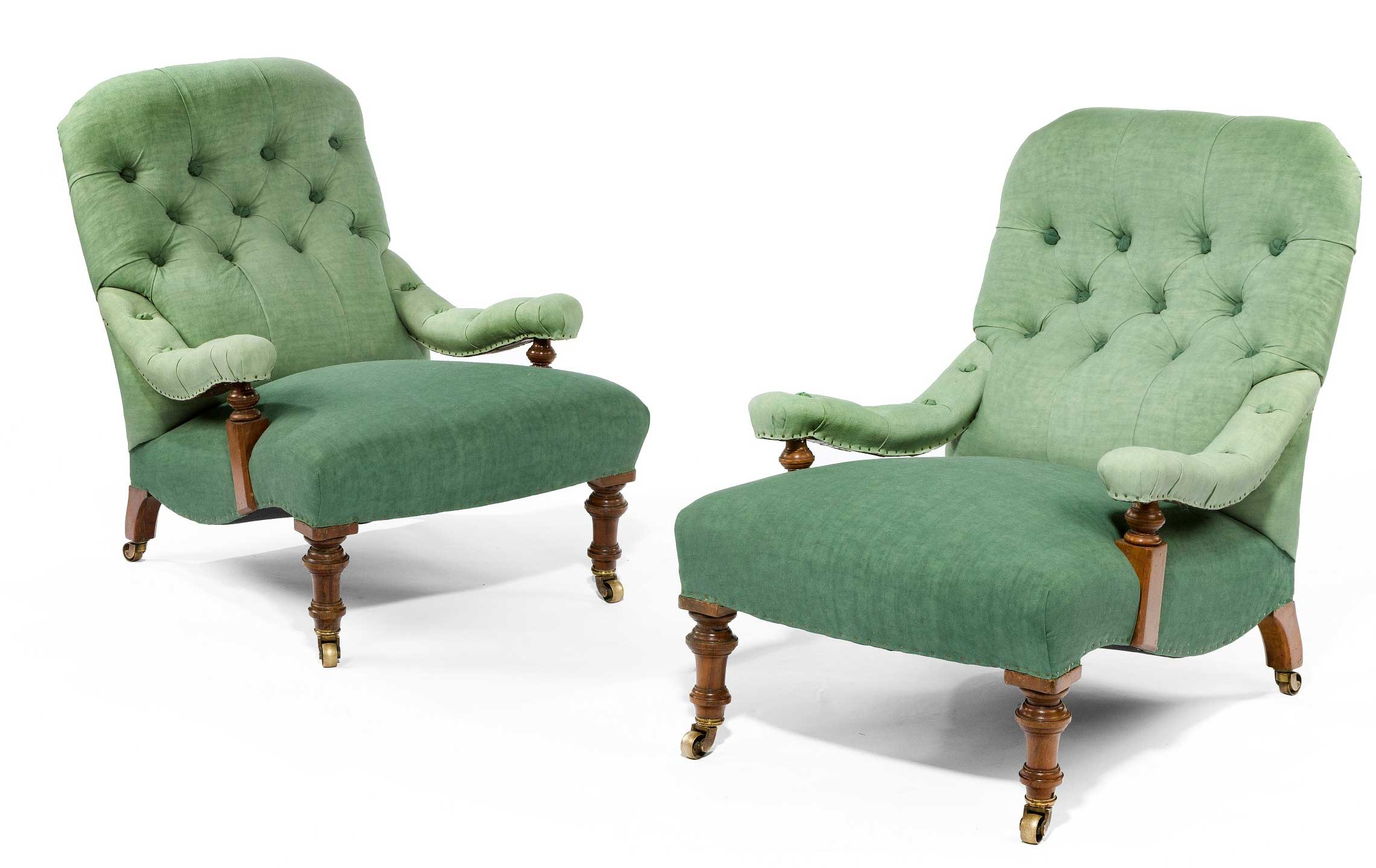 Pair of 19th century walnut armchairs upholstered in linen, £2,650, from Seventeen-Twenty-One