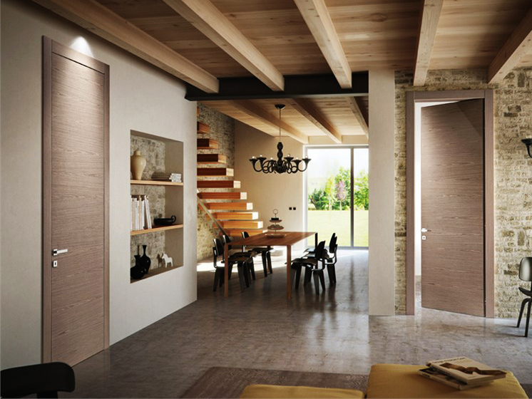 Wood veneers used by Pivato Porte on its Inversa doors come from sustainably managed forests in Ital