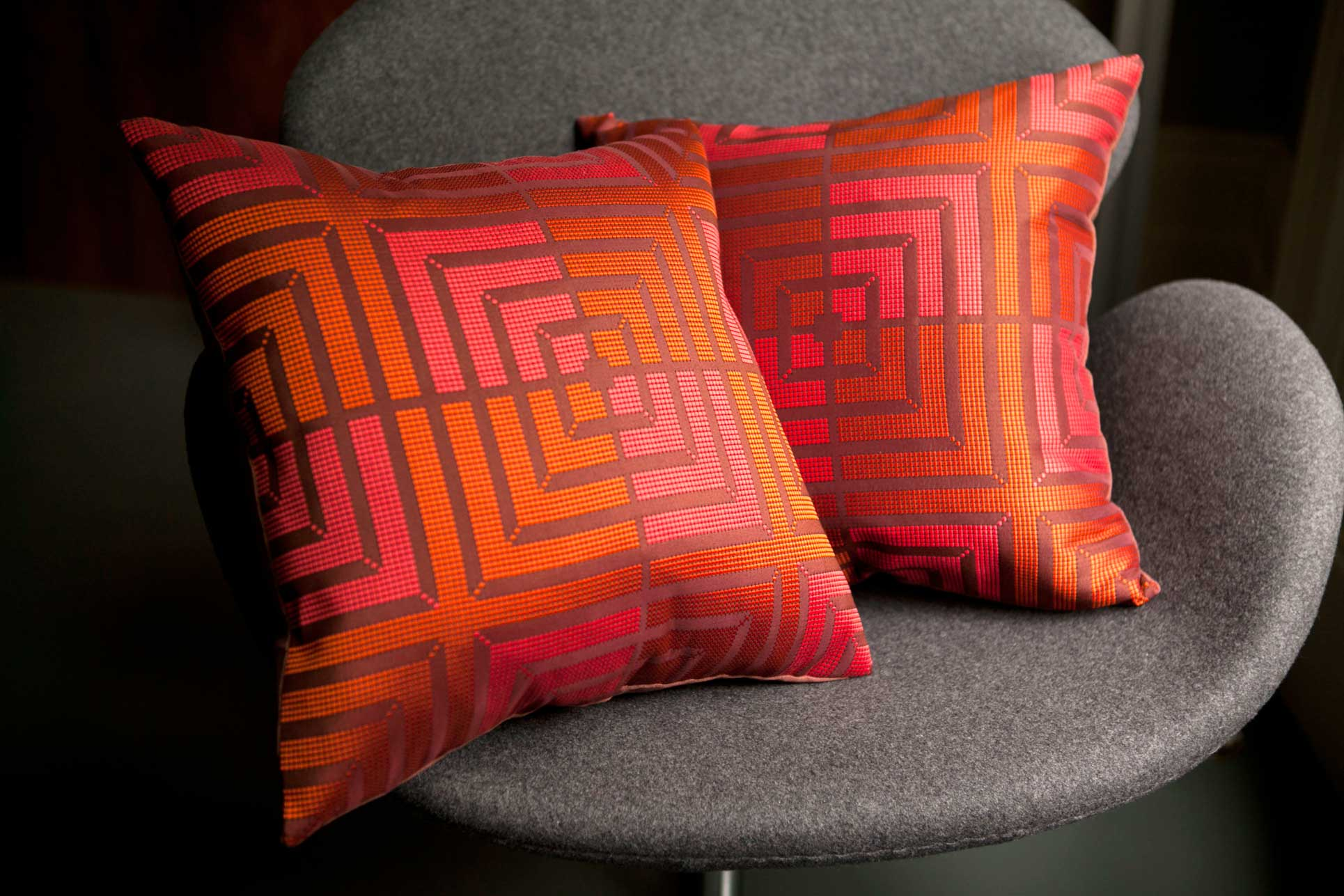 Red square cushions