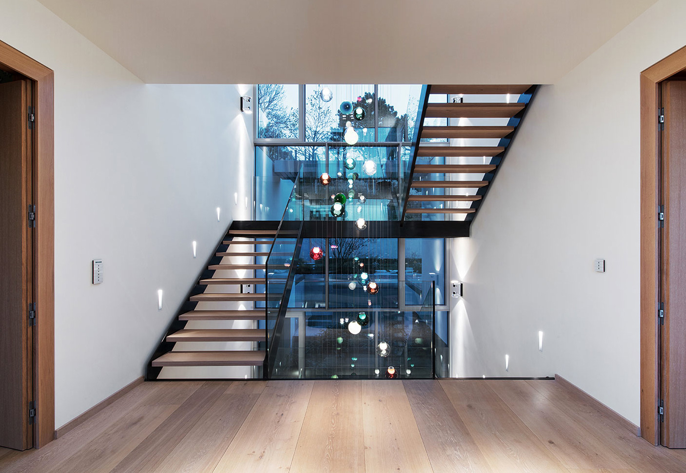 The Bocci 28 chandelier is pleasing from all floors