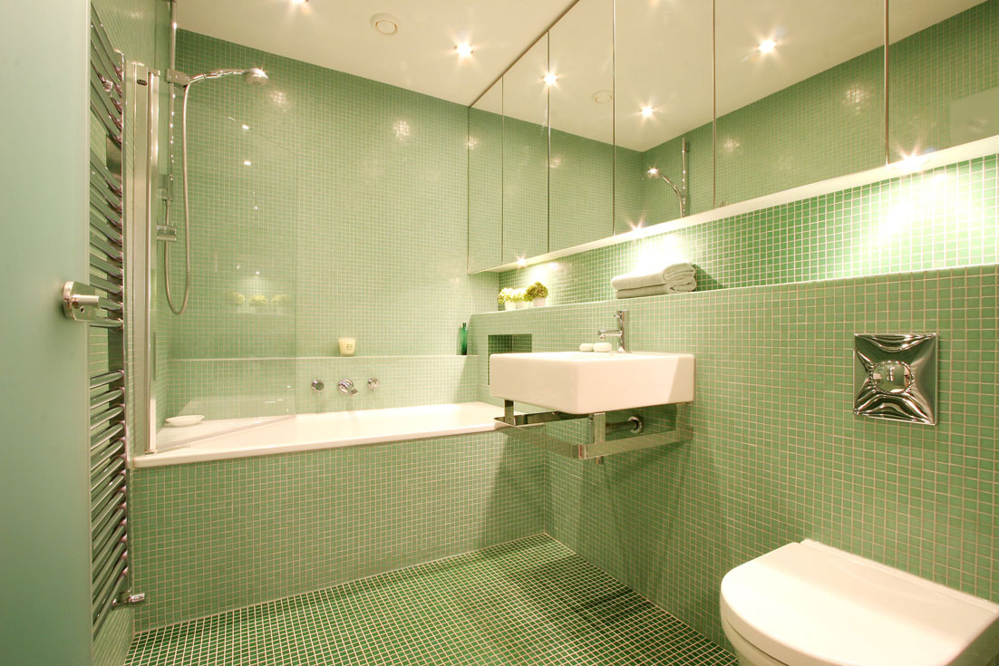 Green glass mosaic bathroom