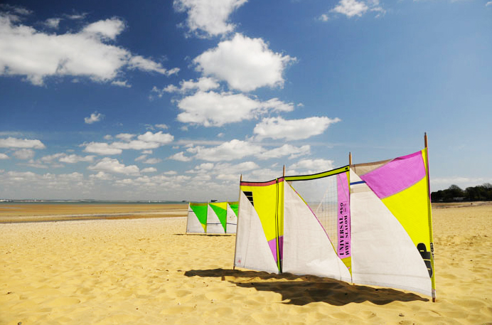 Windbreaks made from old sails by Isle of Wight-based www.wightsails.com