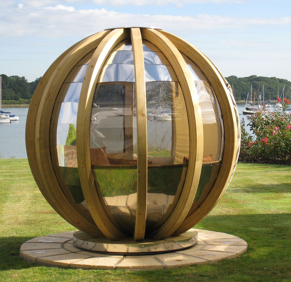 Rotating Sphere lounge pod by Ornate Garden from John Lewis, FSC-certified laminate. Around £8,000.
