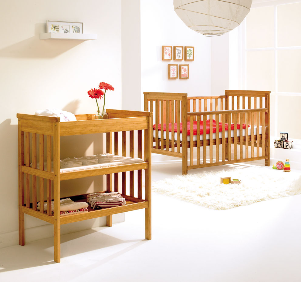 Bamboo cot and changing unit from East Coast, prices from £159, www.eastcoastnursery.co.uk