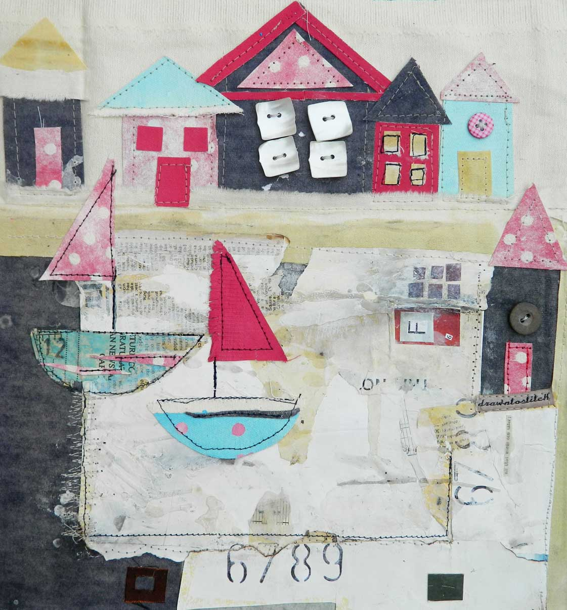 Beach Huts and a Lake, £135, by Louise O'Hara, from Madebyhandonline.com