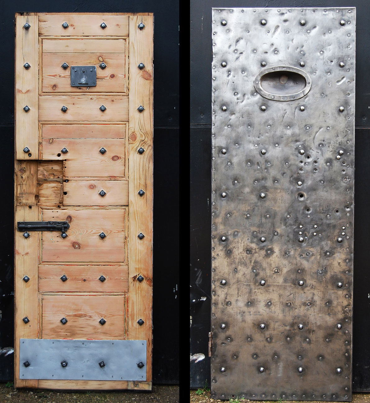 If your project is appropriate choose reclaimed doors from salvage yards such as Lassco
