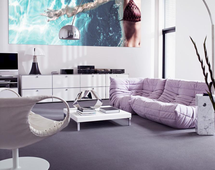 Vorwerk's Hermelin nylon carpet in dove grey, £75m2. The company has developed an energy-saving cold