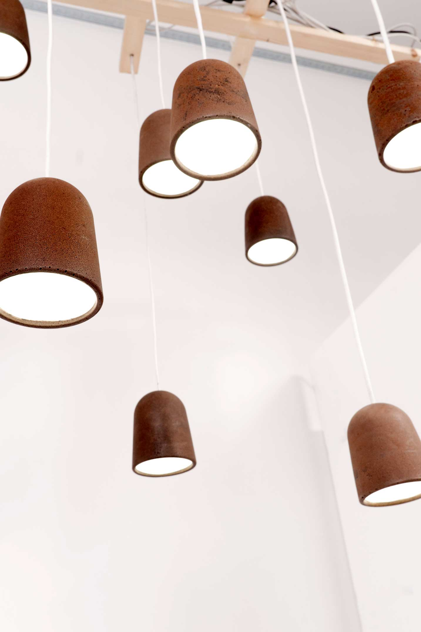Koji lampshades. Lauri is working on developing other colours for Decafe