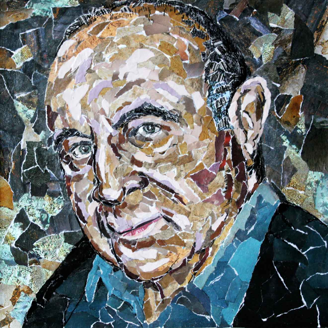 Portrait of Bob Hoskins by Rosalind Freeborn. The late actor liked it so much he bought it