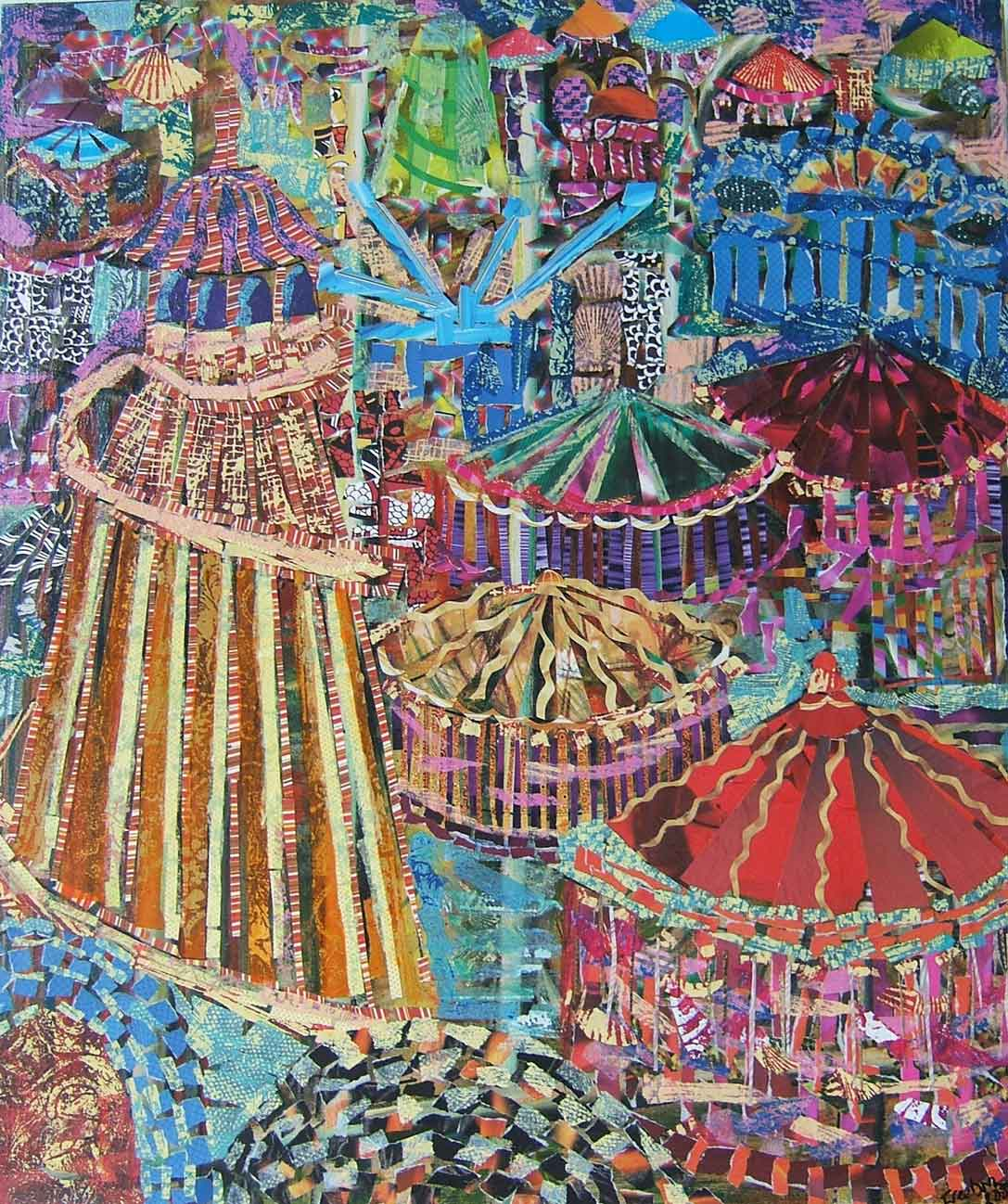 Colourful Fairground collage by Rosalind Freeborn, a London artist who uses fragments of magazine pa