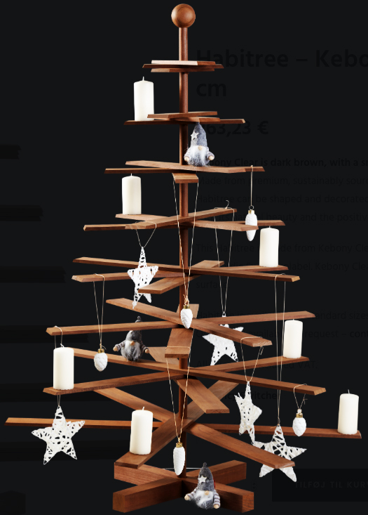 From Habitree, re-useable Kebony wood tree can be folded away after Christmas and stored. From 225 e