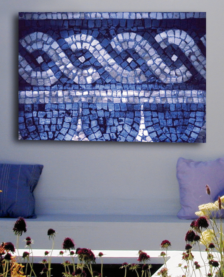 A colourful mosaic image for a garden wall