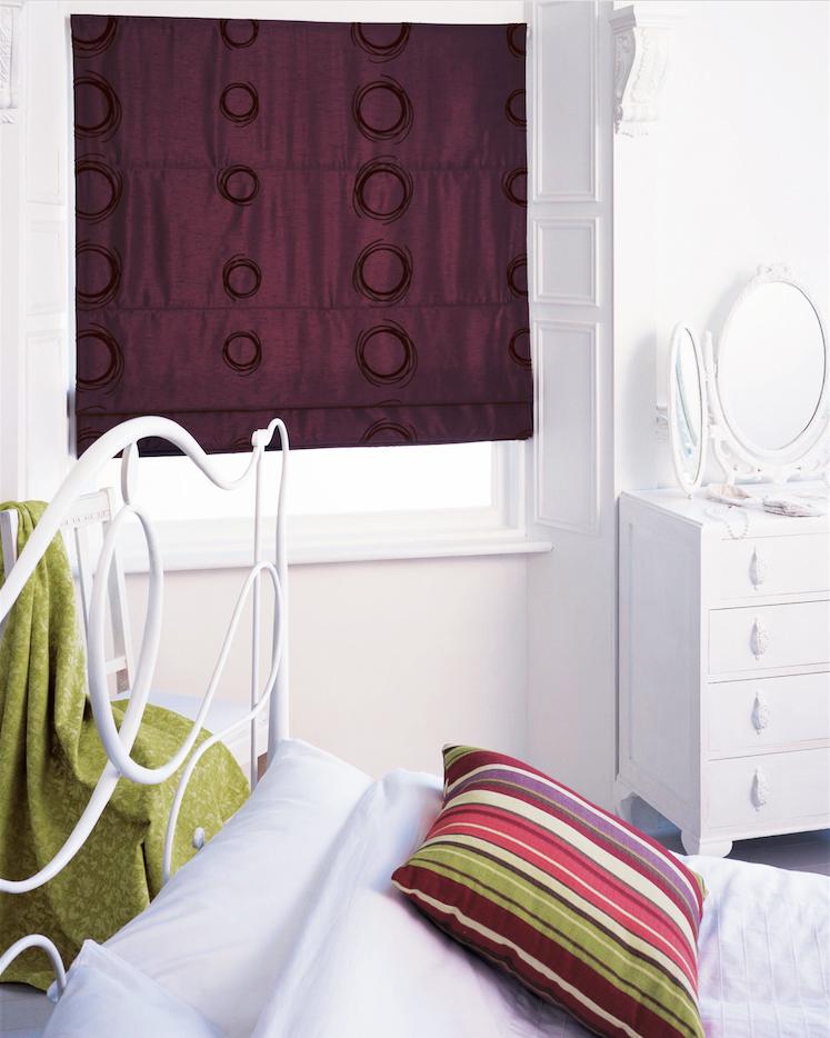 Plum Circles, Roman blind for bedroom from Blinds UK
