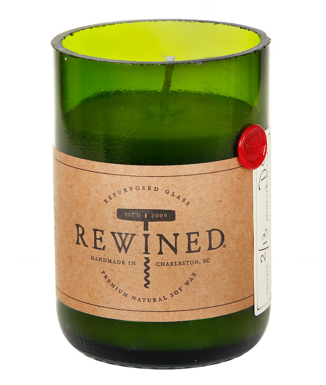Recycled glass jars and soy wax are used for Rewined candles
