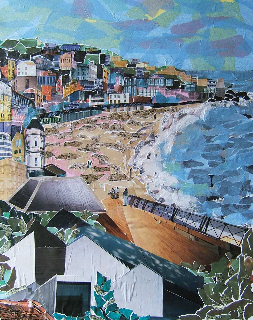 `Seaside Town collage made from torn up magazine pages by artist Rosalind Freeborn