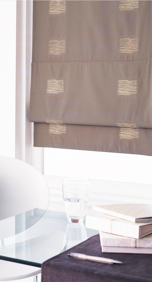 Taupe gold Roman blind