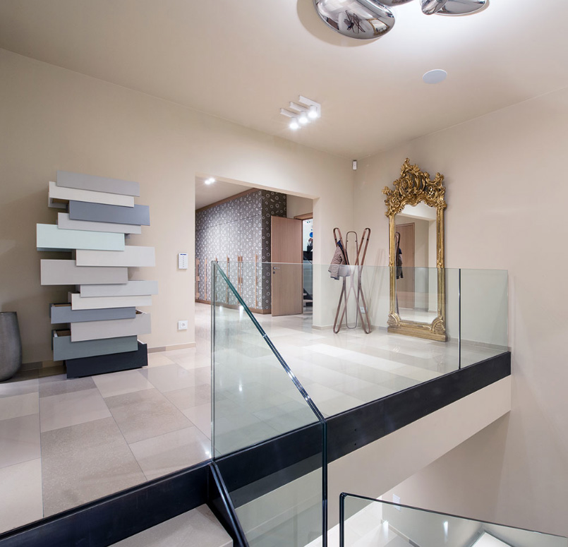 Porcelain tiles were used in some areas of the house