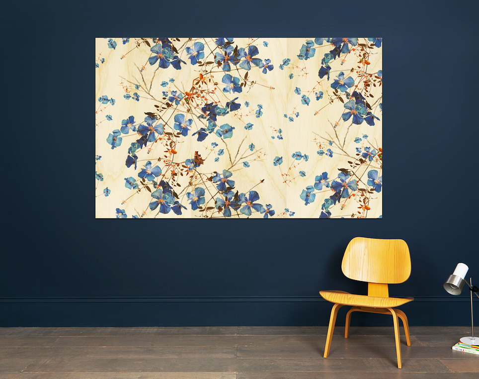 Cover your walls with birch ply printed with an visual you like. Pictured here is Clematis Powder Bl