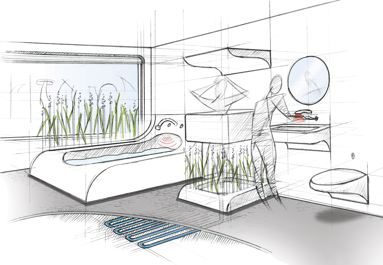 Bathrooms will have plants and bacteria in them that will treat waste water, so it can be used again