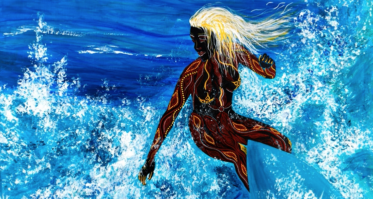 From a group of works entitled My Surf Dreaming..the blonde Aboriginal woman, both modern and ancien