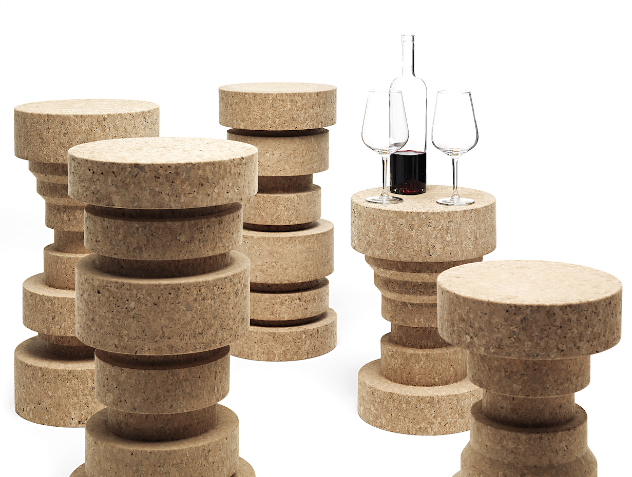 Cork King and Queen stools/side tables from Italian brand Mogg, available at Go Modern. 2 x heights