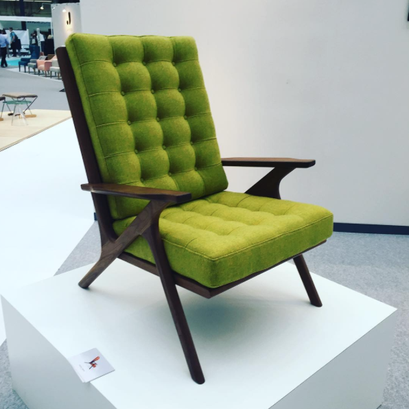 The Bert chair by Higgs & Crick has a walnut frame hand-made in Cornwall and Bute wool upholstery. A