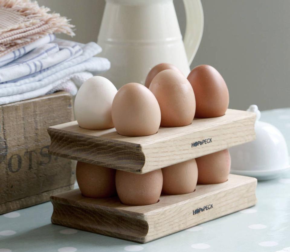 Double tier oak egg rack by Hop & Peck, £50 at notonthehighstreet.com