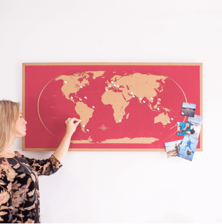 Skinny screen printed cork world map by Rory Lawrence at www.mobymaps.com, £95 . Choice of colours a