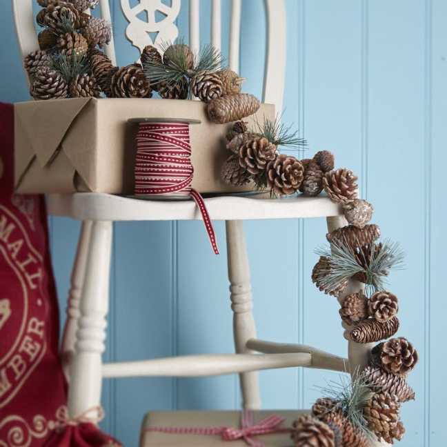 Silver dusted pine cone garland, by Gisela Graham, £18 from www.tch.net