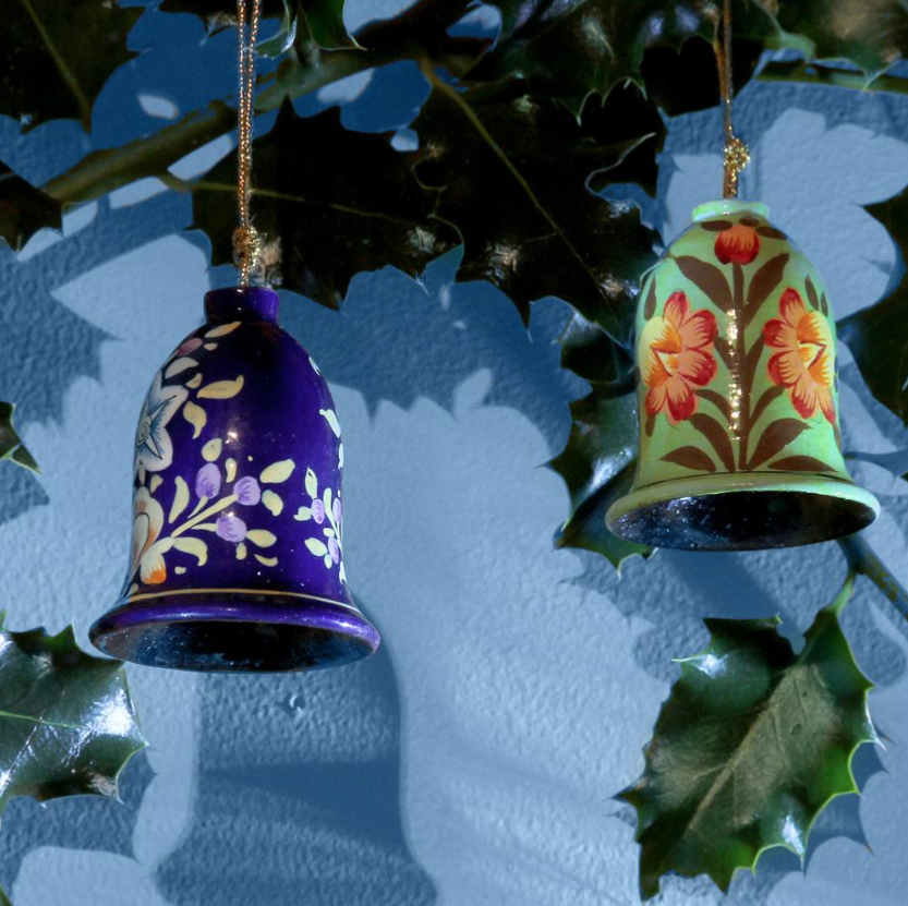 Papier mache hanging bells, £4.99 each, from eco and ethical Shared Earth (.co.uk)