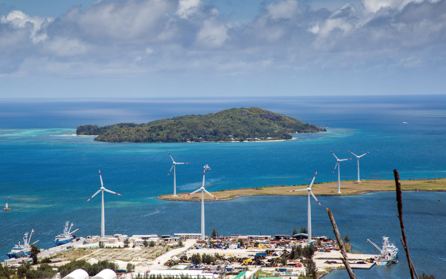 Wind turbines provide some of the Seychelles' energy