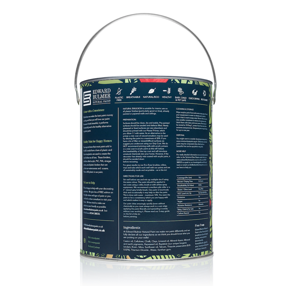 Edward Bulmer Natural Paint lists ingredients on the tin