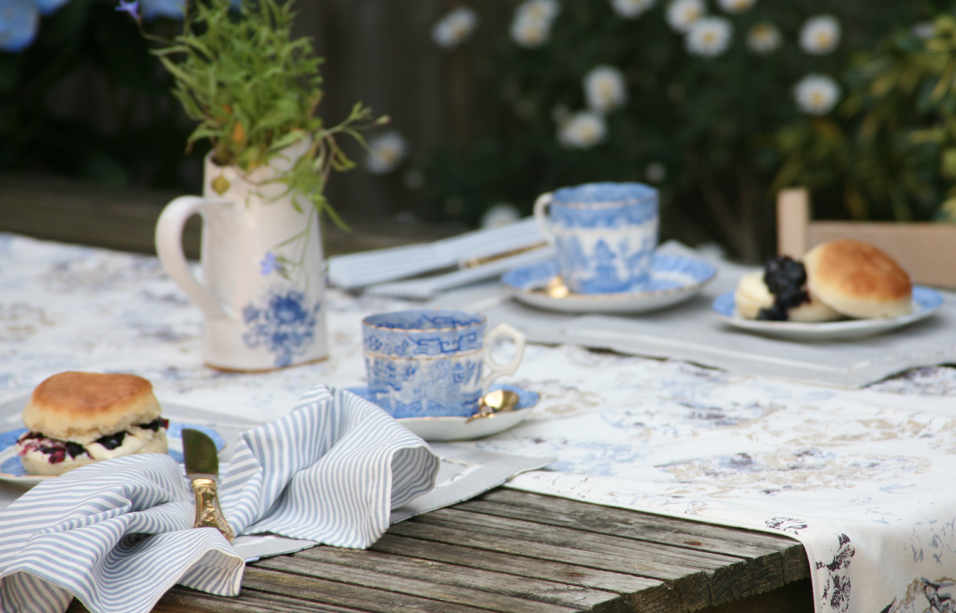 Floral table linens are perfect for the look