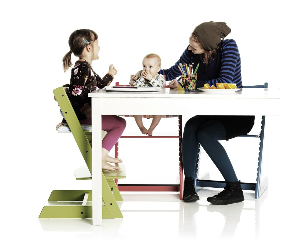 Ever popular, the Tripp Trapp chair from Stoke goes from babyhood to adulthood
