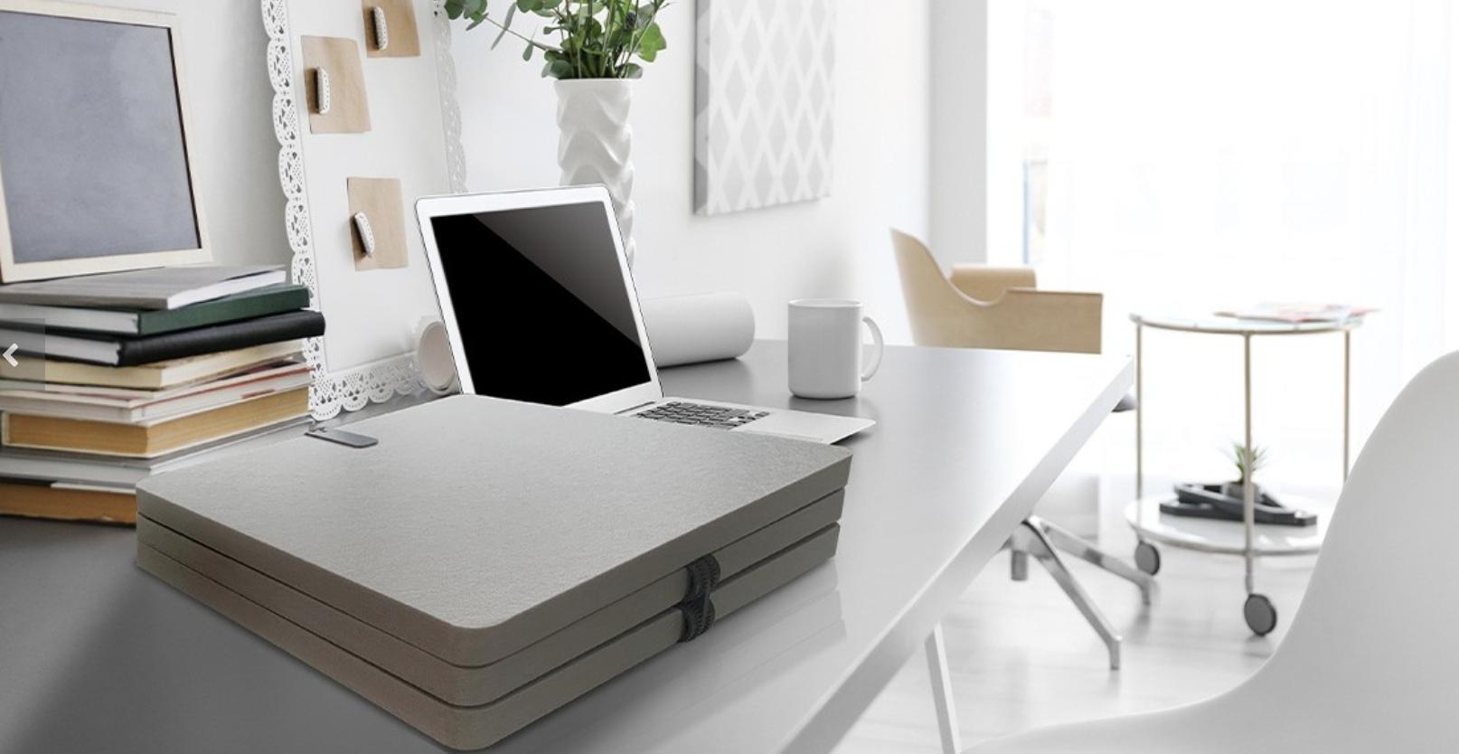 Desktop folds flat for easy storage