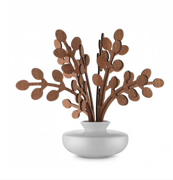 Alessi's Brrr diffuser with mahogany leaves, £59 and porcelain pot. www.alessi.com