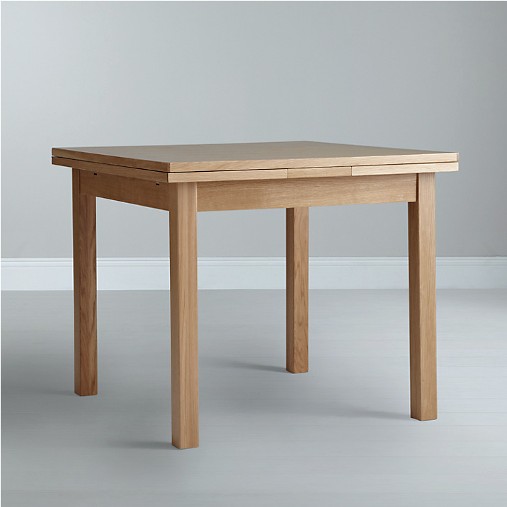Choose an extendable table. Oak and oak veneer Lyon extendable table from John Lewis, £349.